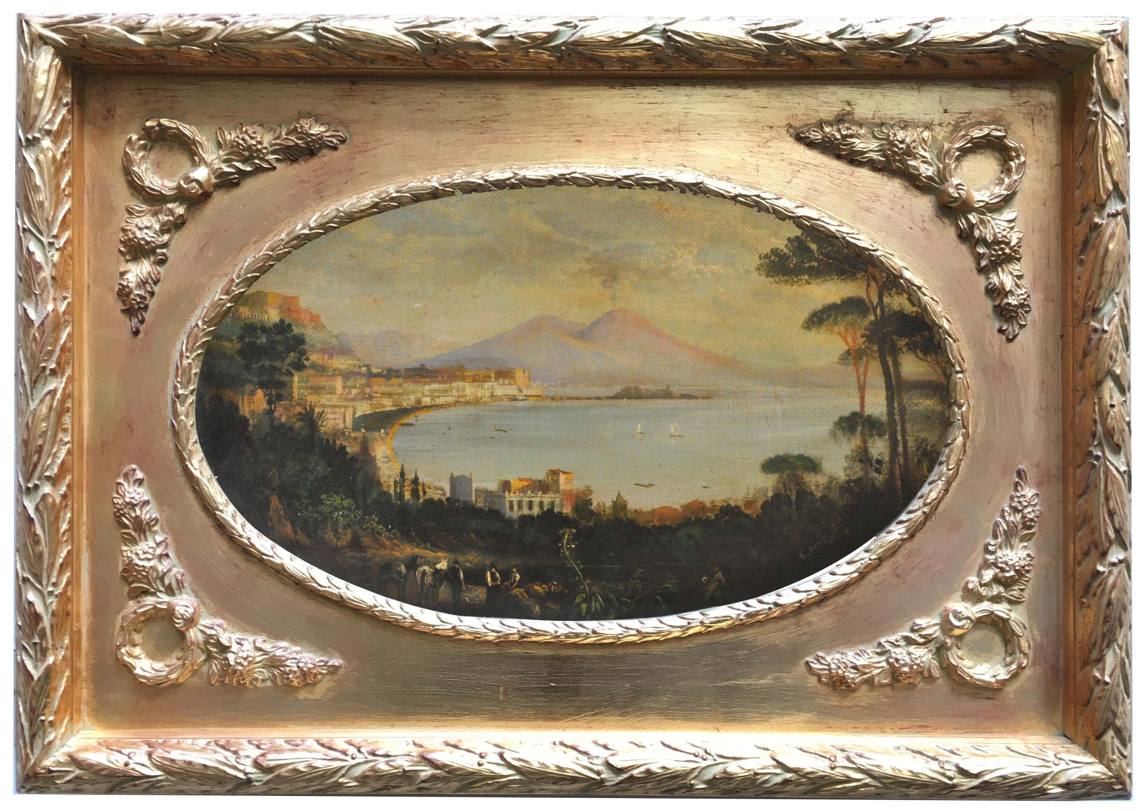VIEW OF NAPLES -Posillipo School -  Italian Landscape Oil on Canvas Painting