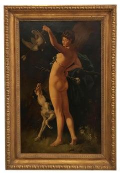Diana the huntress - Italian figurative oil on canvas painting, Ettore Frattini