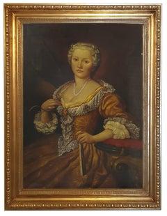 Portrait of a Lady - Italian figurative oil on canvas painting, Ettore Frattini