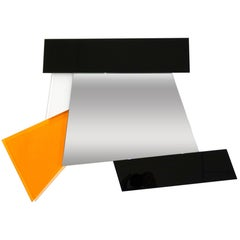 Ettore Sottsass 2007 Post-Modern Prism Black White Orange Mirror for Glas Italia