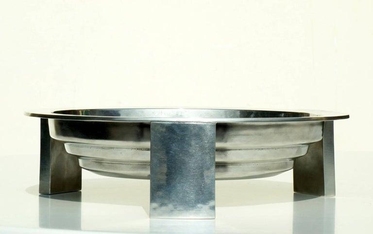 Modern Ettore Sottsass by Serafino Zani Tavola Rotonda Rovescia Metal Centrepiece 2000s For Sale