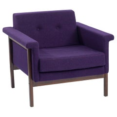 "Ettore Sottsass, ""Canada Armchair"", Walnut, Upholstery, Purple, 1959"
