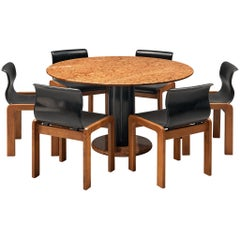 Ettore Sottsass Dining Table in Marble with Six Dining Chairs