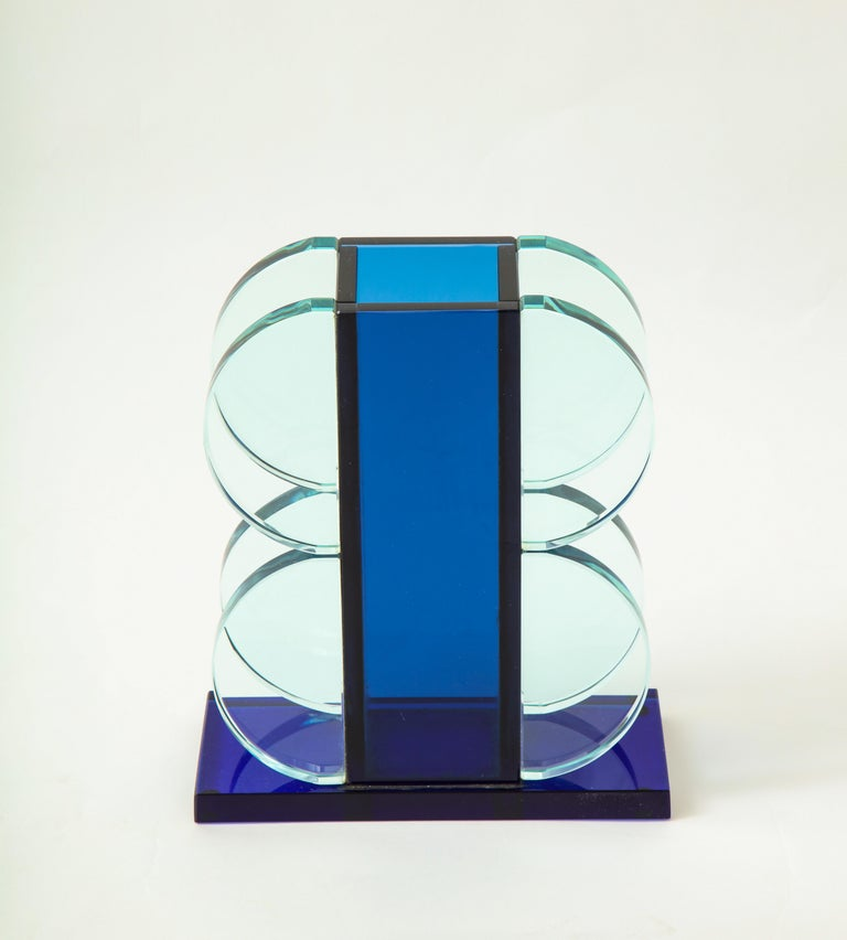 Ettore Sottsass for Fontana Arte dark blue crystal vase with light blue crystal geometric attached semi-circle shapes on rectangular dark blue crystal base.  Literature: Design aus Italien, Krause, pg. 139