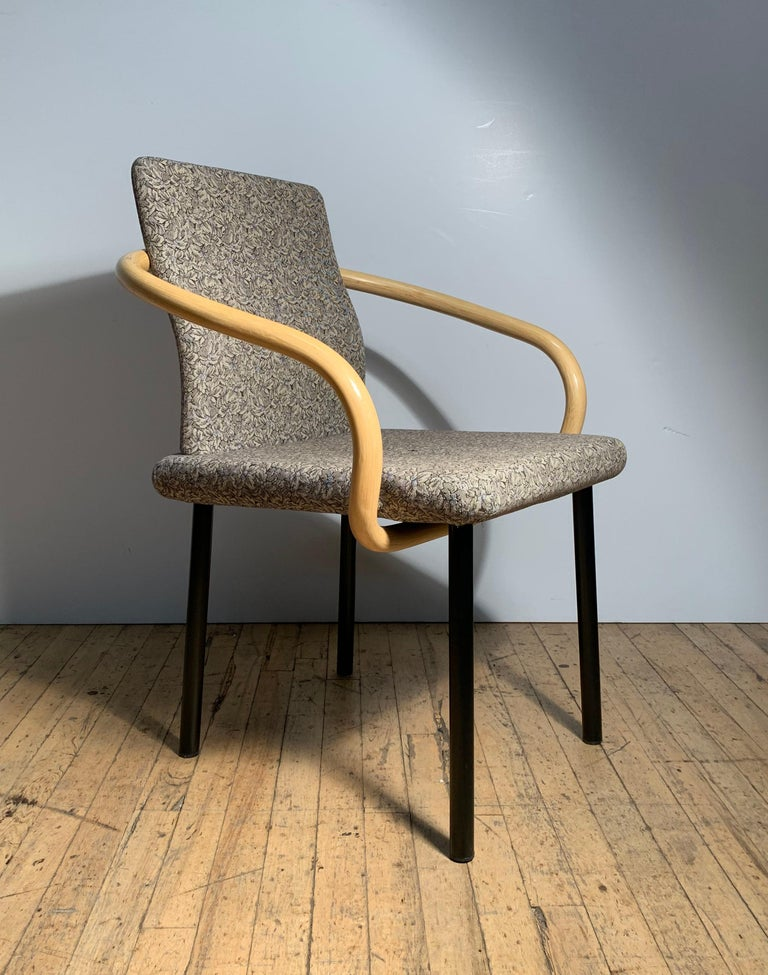 Mid-Century Modern Ettore Sottsass for Knoll Mandarin Chairs, Scarce Bamboo Arms For Sale