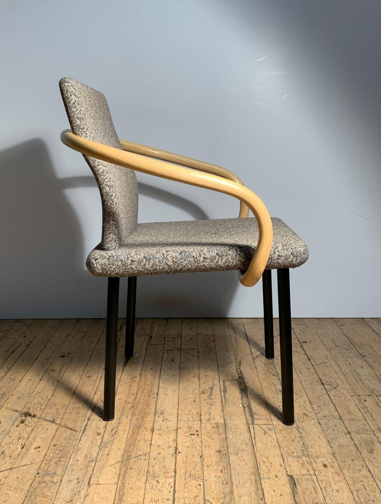 American Ettore Sottsass for Knoll Mandarin Chairs, Scarce Bamboo Arms For Sale