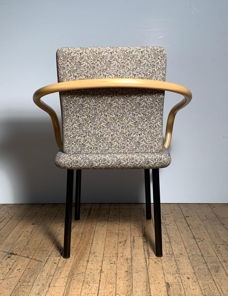20th Century Ettore Sottsass for Knoll Mandarin Chairs, Scarce Bamboo Arms For Sale