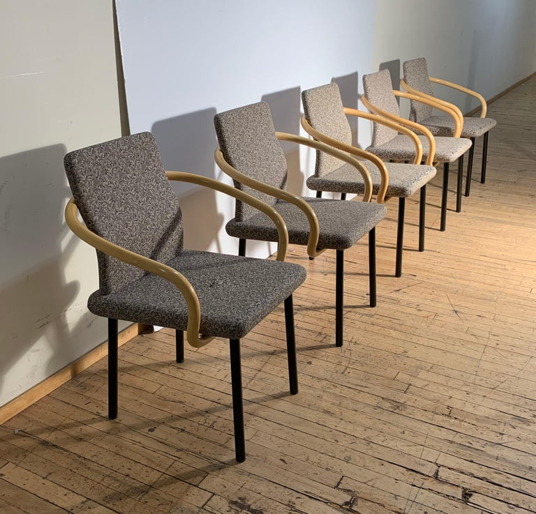 Ettore Sottsass for Knoll Mandarin Chairs, Scarce Bamboo Arms For Sale 2