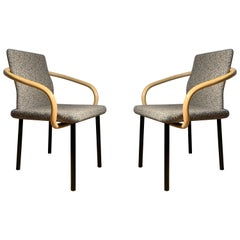 Ettore Sottsass for Knoll Mandarin Chairs, Scarce Bamboo Arms