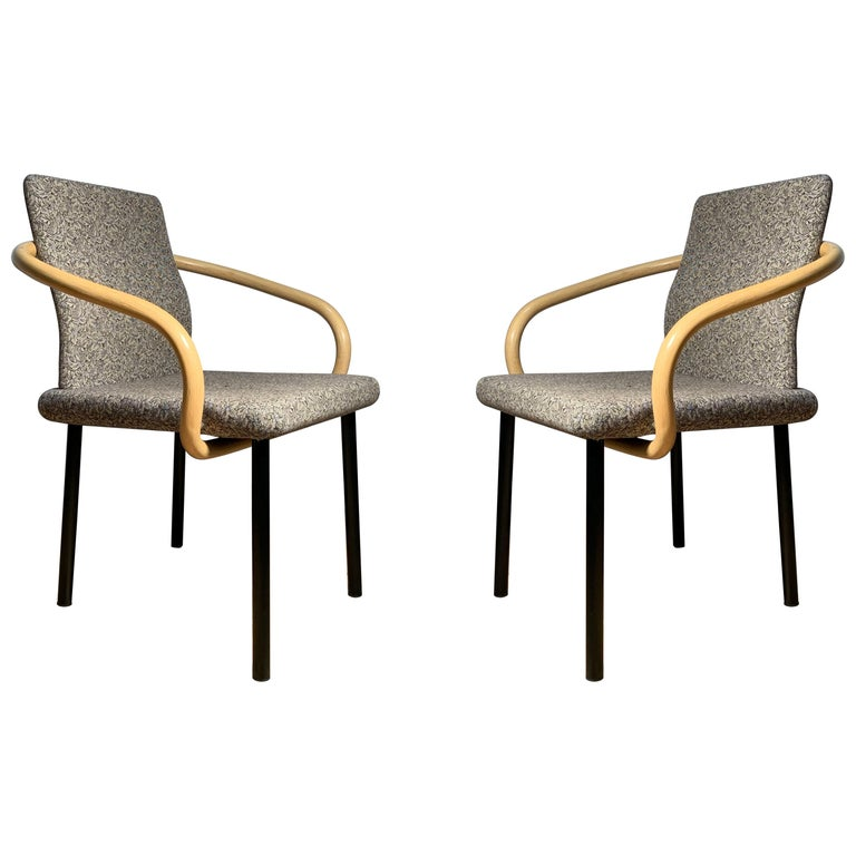 Ettore Sottsass for Knoll Mandarin Chairs, Scarce Bamboo Arms For Sale