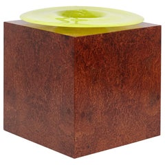 Ettore Sottsass H Limited Edition Vase in Wood and Murano Glass for Flowers