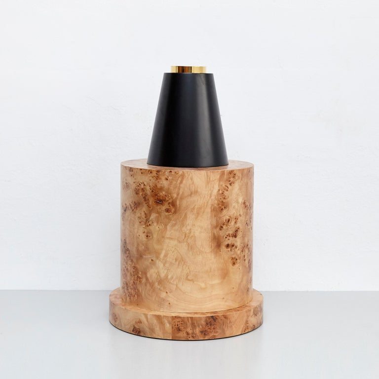 Modern Ettore Sottsass I Limited Edition Vase in Wood and Murano Glass for Flowers For Sale