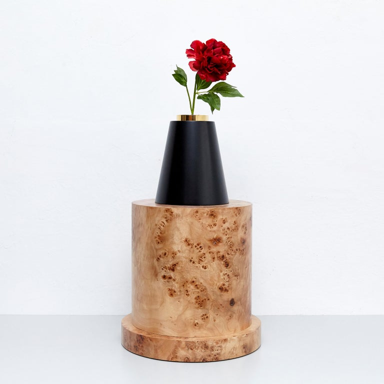 European Ettore Sottsass I Limited Edition Vase in Wood and Murano Glass for Flowers For Sale