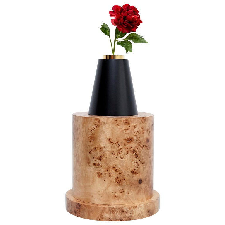 Ettore Sottsass I Limited Edition Vase in Wood and Murano Glass for Flowers For Sale