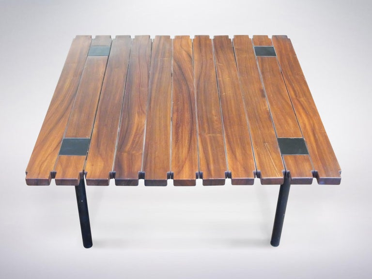 Italian Ettore Sottsass Jr. for Poltronova, Rosewood Square Coffee Table, 1958 For Sale