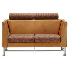 Ettore Sottsass Knoll Cognac Leather 2-seat Eastside Sofa loveseat 1983 Memphis