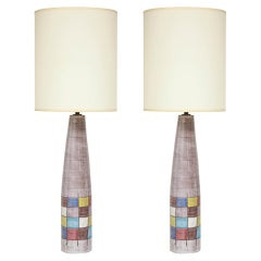 Ettore Sottsass Lamps, Bitossi for Raymor, Ceramic, Patchwork, Signed