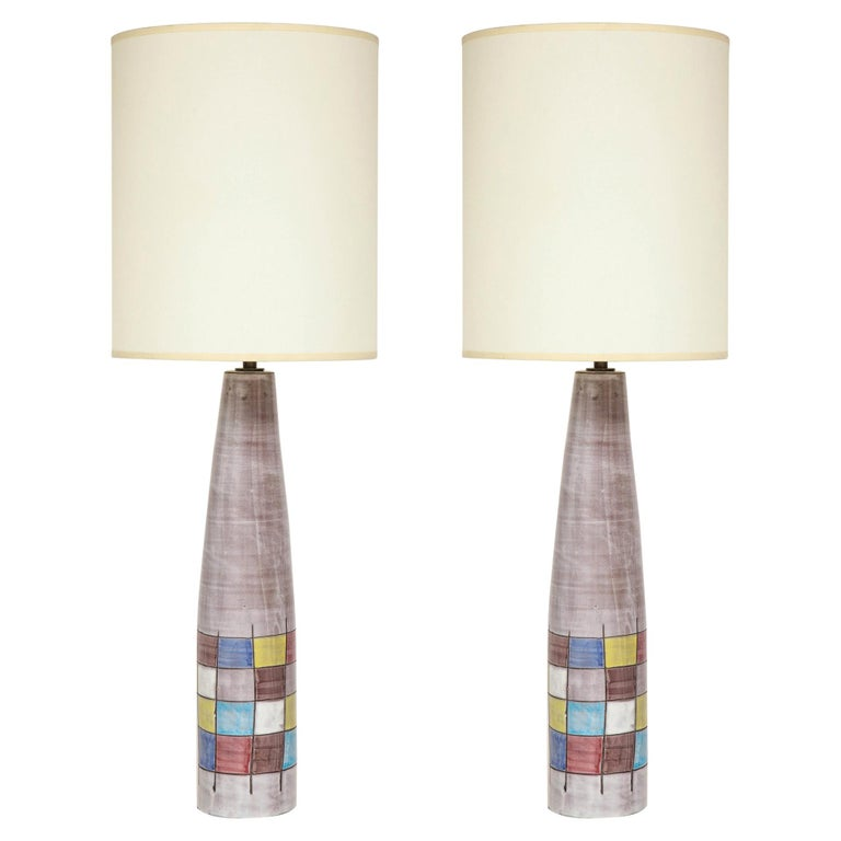 Ettore Sottsass Lamps, Bitossi for Raymor, Ceramic, Patchwork, Signed For Sale