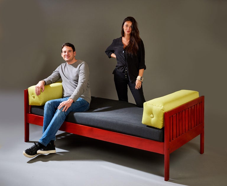 Ettore Sottsass Daybed, Red Lacquered Wood, Chartreuse Upholstery, Italy c. 1962 For Sale 11
