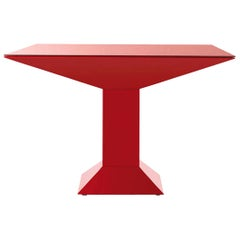 Ettore Sottsass Mettsass Red Metal and Glass Table
