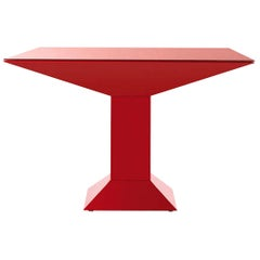 Ettore Sottsass Mettsass Table in Red Lacquered Metal and Glass for BD