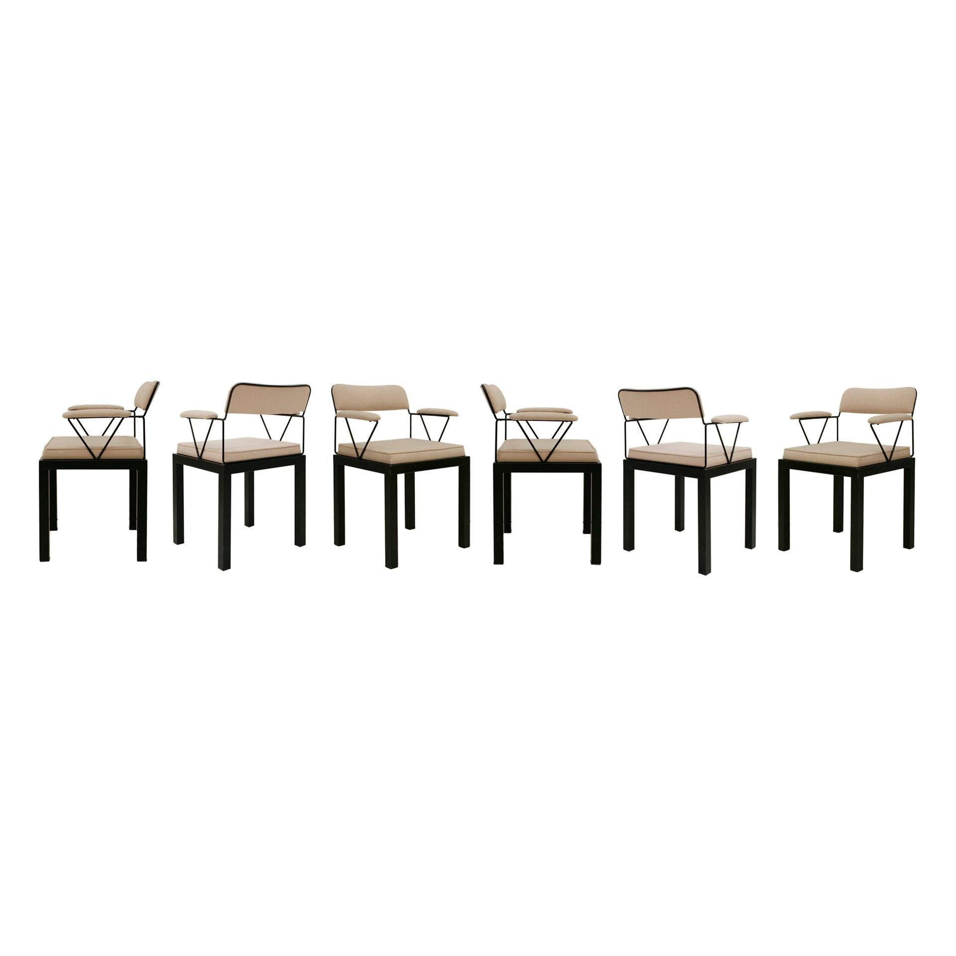 "Ettore Sottsass Model ""Lodge"" Italian 1986 Set of Six Chairs"