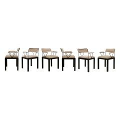 "Ettore Sottsass Model ""Lodge"" Italian 1986 Set of Six Chairs"