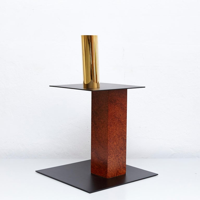 Anodized Ettore Sottsass N Limited Edition Vase in Wood and Murano Glass for Flowers For Sale