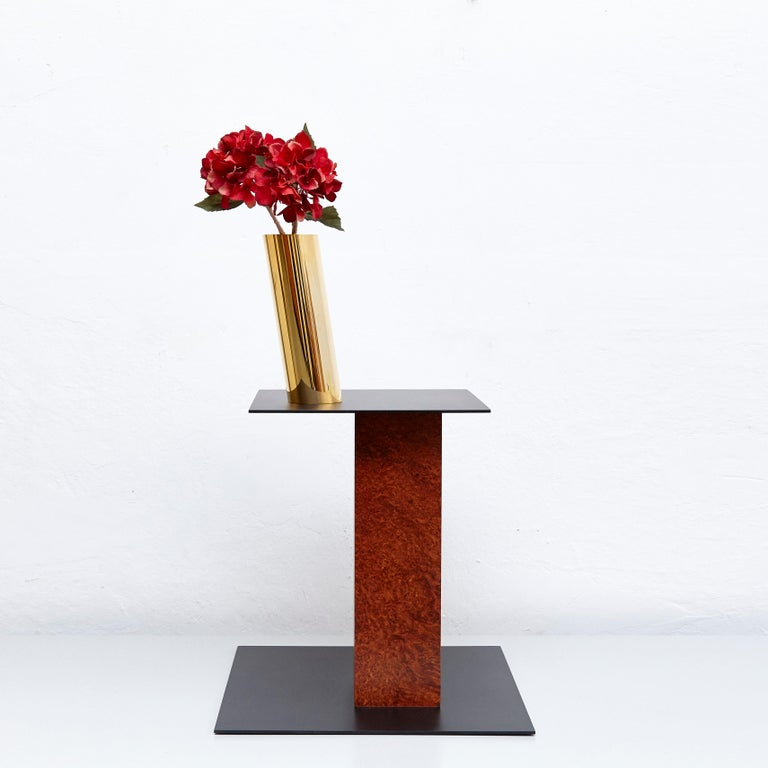 Late 20th Century Ettore Sottsass N Limited Edition Vase in Wood and Murano Glass for Flowers For Sale