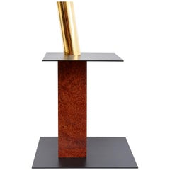 Ettore Sottsass N Limited Edition Vase in Wood and Murano Glass for Flowers