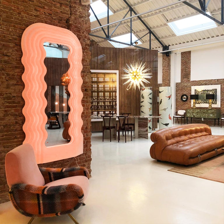 Steel Ettore Sottsass Perplex and Pink Neon Lamp