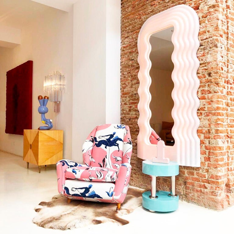 Ettore Sottsass Perplex and Pink Neon Lamp