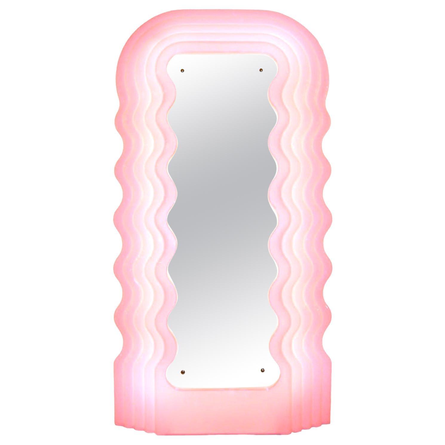 "Ettore Sottsass Perplex and Pink Neon Lamp ""Ultrafragola"" Italian Mirror"