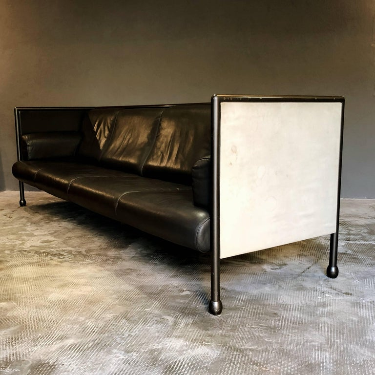 Italian Ettore Sottsass Post-Modern Iron and Black Leather Danube Sofa for Cassina, 1992 For Sale