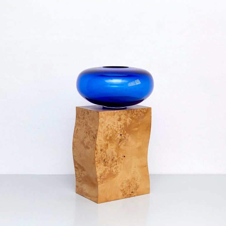 Modern Ettore Sottsass Q Limited Edition Vase in Wood and Murano Glass for Flowers For Sale