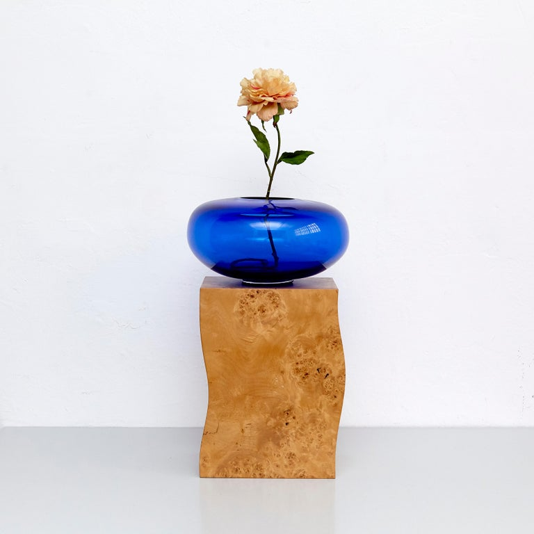 Late 20th Century Ettore Sottsass Q Limited Edition Vase in Wood and Murano Glass for Flowers For Sale