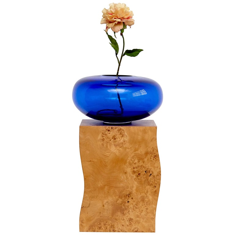 Ettore Sottsass Q Limited Edition Vase in Wood and Murano Glass for Flowers For Sale