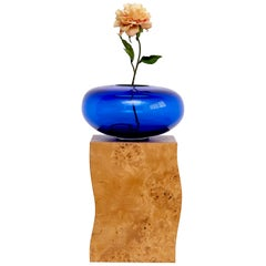 Ettore Sottsass Q Limited Edition Vase in Wood and Murano Glass for Flowers