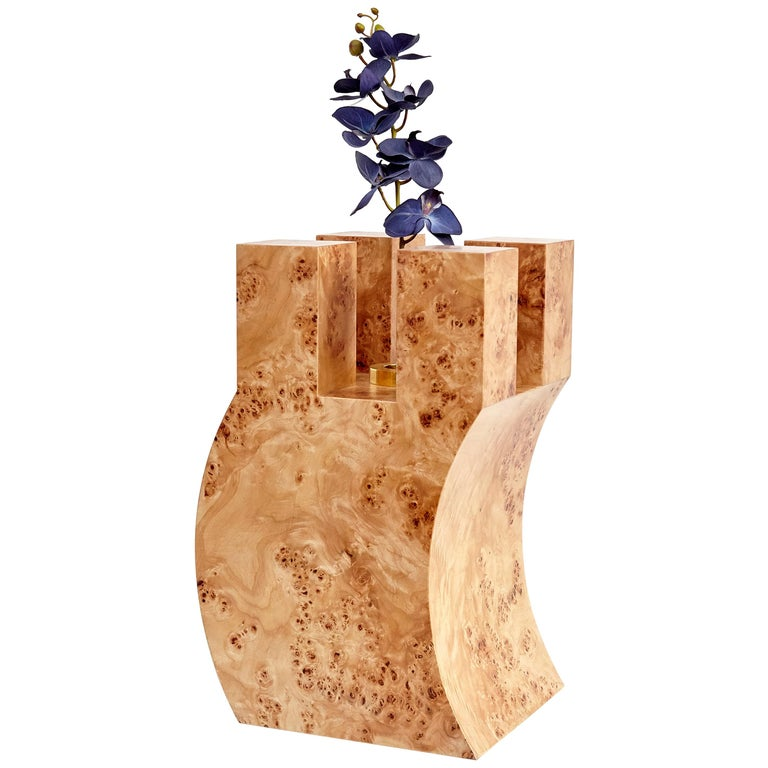 Ettore Sottsass R Limited Edition Vase in Wood and Murano Glass for Flowers For Sale