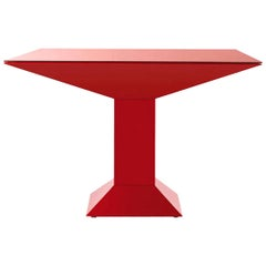 Ettore Sottsass Red Metal and Glass Mettsass Table for BD