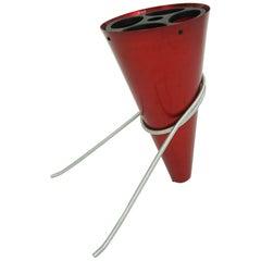 Ettore Sottsass, Rinnovel Red Aluminium Umbrella Stand, 1970, Italy