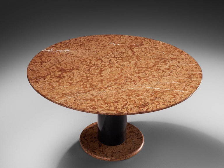 Italian Ettore Sottsass Rose Marble Pedestal Dining Table For Sale