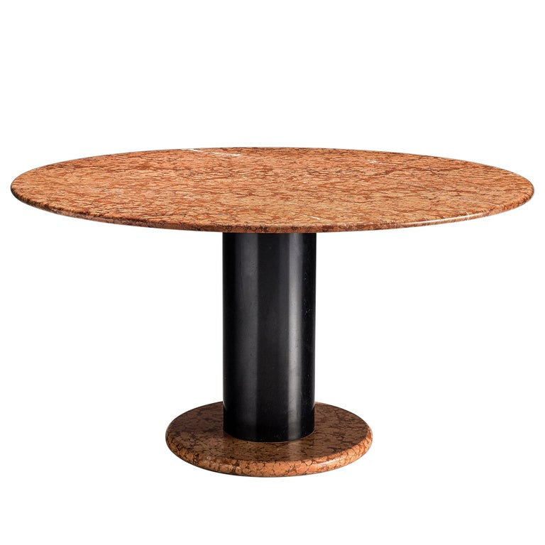 Ettore Sottsass Rose Marble Pedestal Dining Table For Sale