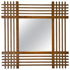 Ettore Sottsass Santambrogio E De Berti Oak Wood Mirror, Italy, 1959