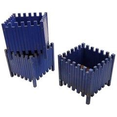 Ettore Sottsass Set of Three Blue Planters for Poltronova, 1961