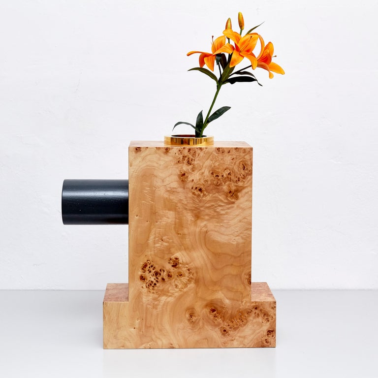 Twenty-seven woods for a Chinese artificial flower vase K by Ettore Sottsass, edited by Design Gallery Milano, 1995.  Limited edition of 12 signed and numered pieces, number 3 / 12. This piece has also been produced as a limited edition with a