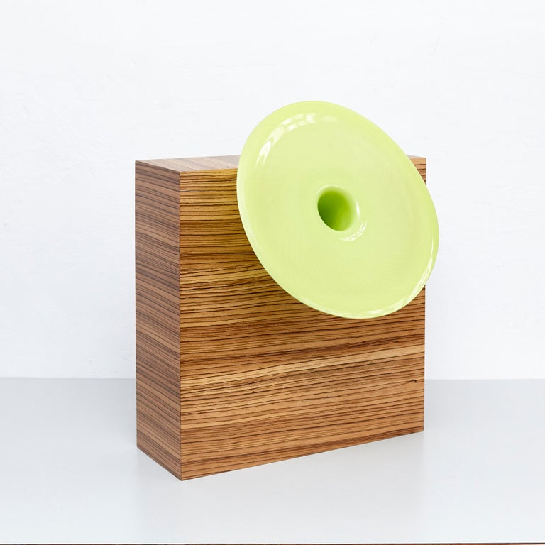W vase made for the collection of twenty-seven woods for Chinese artificial flowers vase by Ettore Sottsass,