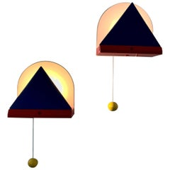 Ettore Sottsass Wall Lamps for Ikea 1980s, in Blue and Red
