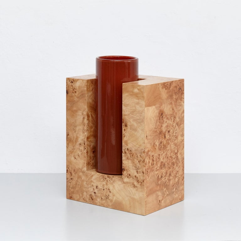 Modern Ettore Sottsass Y Limited Edition Vase in Wood and Murano Glass for Flowers For Sale