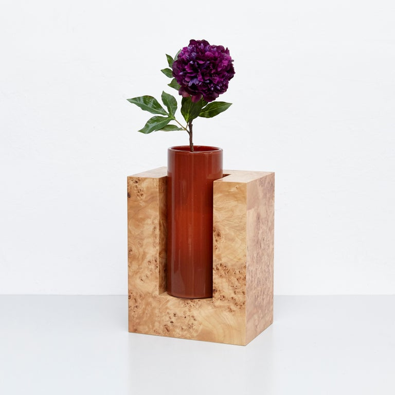 Ettore Sottsass Y Limited Edition Vase in Wood and Murano Glass for Flowers For Sale 2